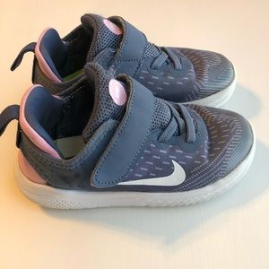 Nike Free RN - Girls Grey/Blue & Pink - Sz 10